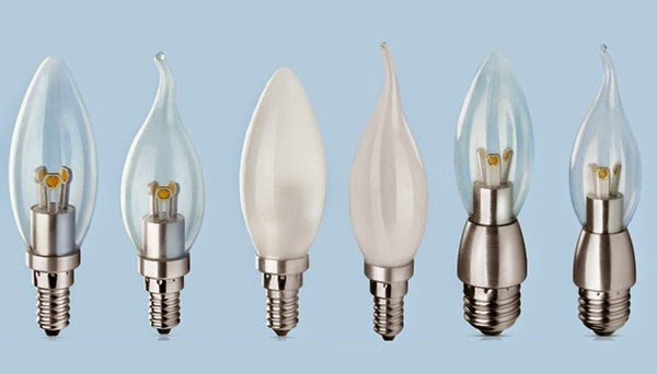 Different type of LED candle bulbs