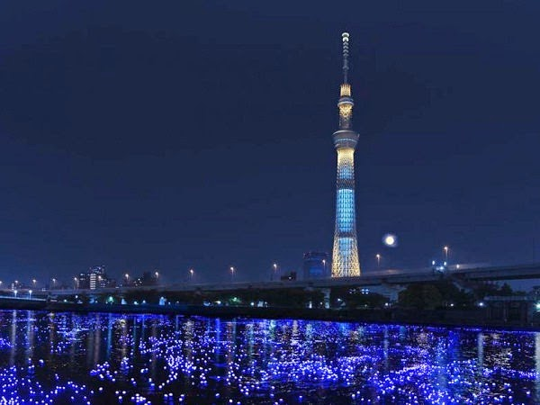 Tokyo's Sumida River lit up by LED lights during Hotaru festival