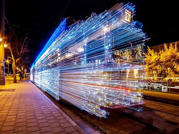 long exposure photo of Budapest Tram decorated with LED Lights