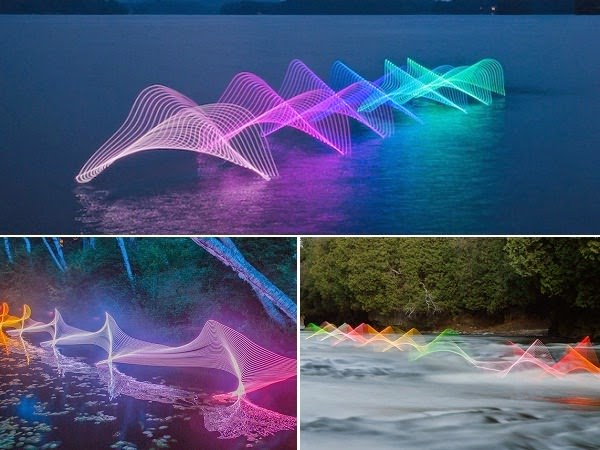 Kayakers, Canoers amd Swimmers motions captured using long exposure and led lights
